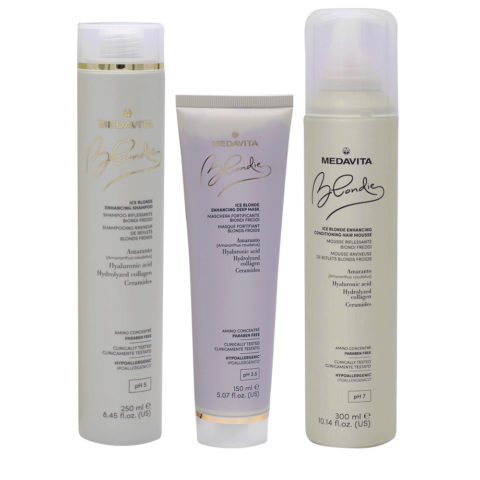 Medavita Blondie Ice Shampoo 250ml Maschera 150ml Schiuma 300ml