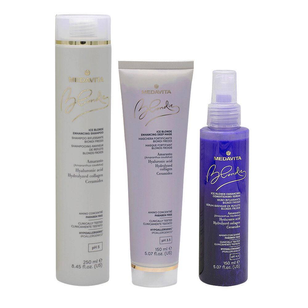 Medavita Blondie Ice Shampoo 250ml Maschera 150ml Siero 150ml