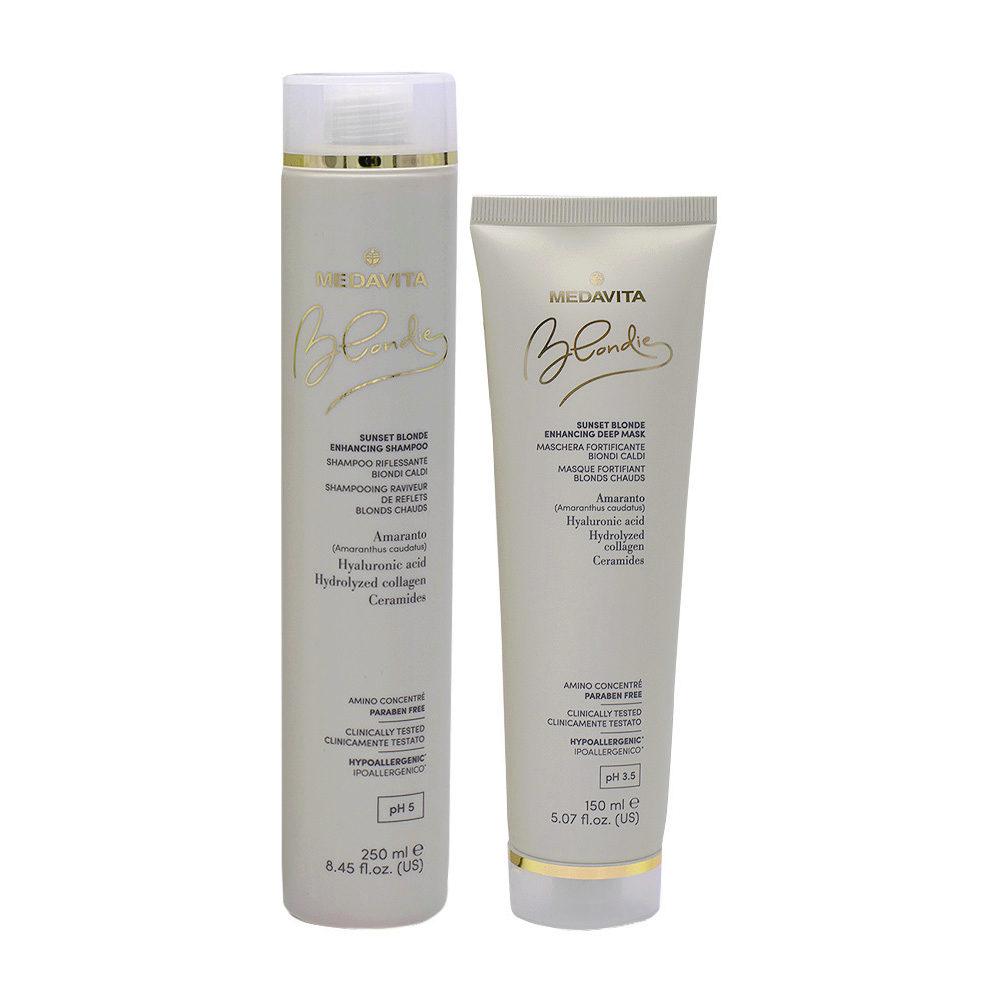Medavita Blondie Sunset Shampoo 250ml Maschera 150ml Biondi Caldi