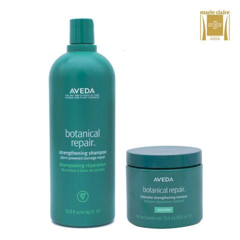 Aveda Botanical Repair Shampoo 1000ml e Maschera Intensiva 450ml Rinforzanti Capelli Danneggiati
