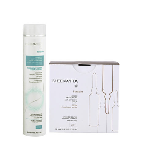 Medavita Puroxine Shampoo Antiforfora 250ml e Fiale 12x6ml