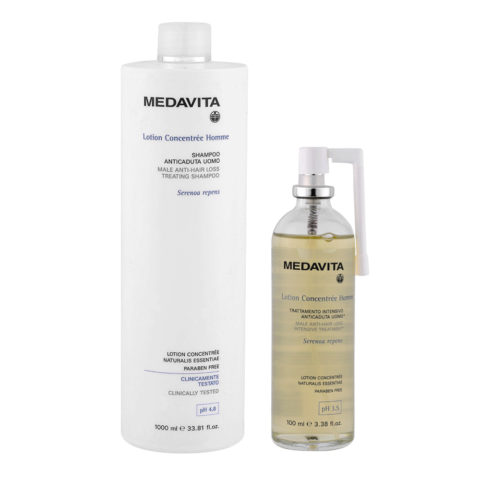 Medavita Lotion concentree Homme Shampoo anticaduta uomo 1000ml Lozione 100ml