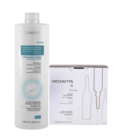 Medavita Puroxine Shampoo Antiforfora 1000ml e Fiale 12x6ml