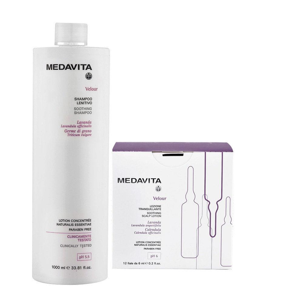 Medavita Velour Shampoo Lenitivo 1000ml e Fiale 12x6ml per Cute con Desquamazione