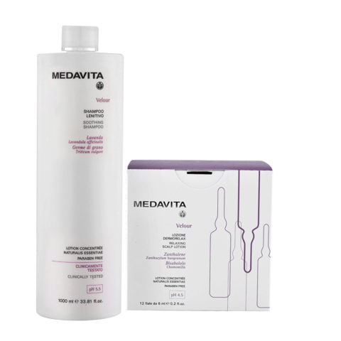 Medavita Velour Shampoo Lenitivo 1000ml e Fiale Cute Irritata 12x6ml