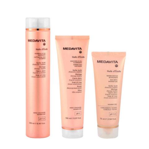Medavita Huile d'etoile Shampoo di Oli 250ml Maschera 150ml Bagno doccia 75ml