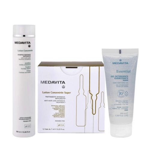 Medavita Cute Lotion Concentree Rituale Anticaduta Shampoo 250ml e Fiale Super 12x7ml Gel Igienizzante Mani 100ml