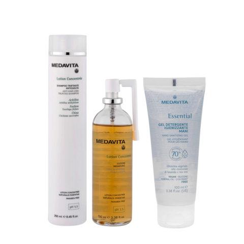 Medavita Cute Lotion Concentree Rituale Anticaduta Shampoo250ml Lozione Cute100ml Gel Igienizzante Mani100ml
