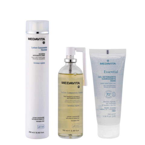 Medavita Lotion concentree Homme Shampoo anticaduta uomo 250ml Lozione 100ml Gel Igienizzante Mani 100ml