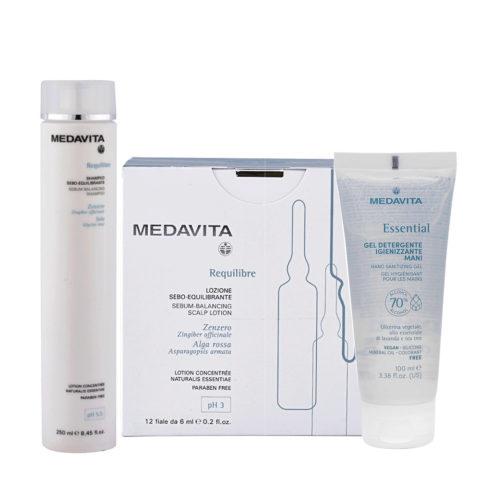 Medavita Requilibre Shampoo Sebo Equilibrante 250ml e Fiale 12x6ml Gel Igienizzante Mani 100ml