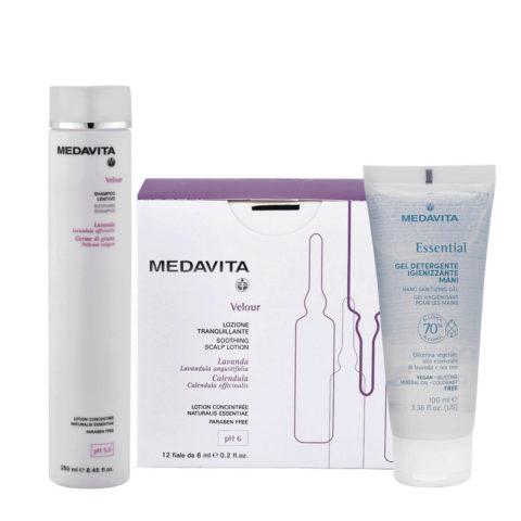 Medavita Velour Shampoo Lenitivo 250ml e Fiale 12x6ml per Cute con Desquamazione Gel Igienizzante Mani 100ml