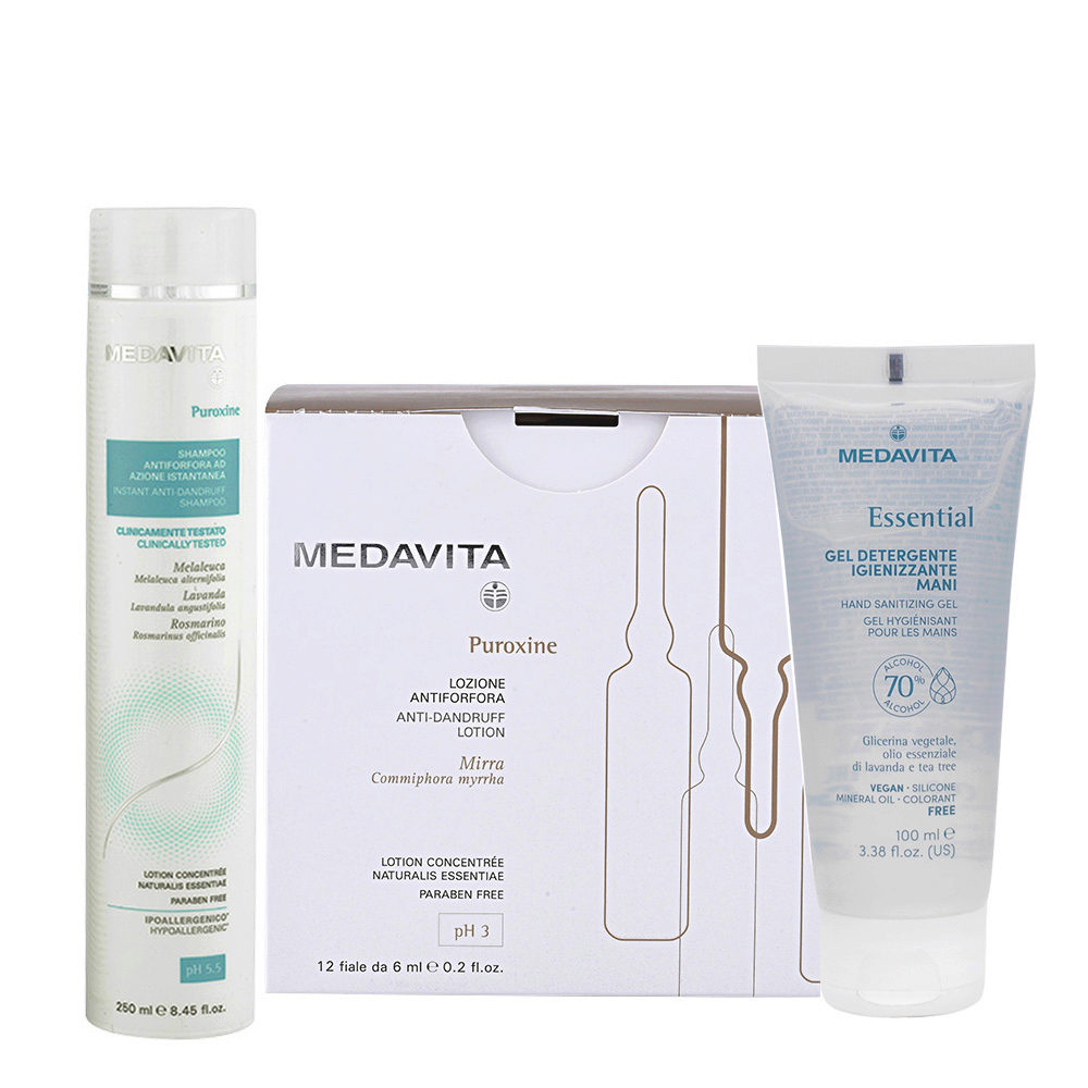 Medavita Puroxine Shampoo Antiforfora 250ml e Fiale 12x6ml Gel Igienizzante Mani 100ml