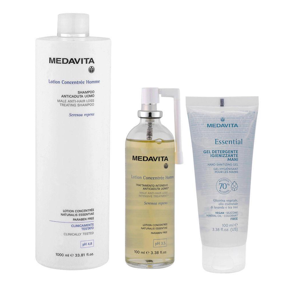 Medavita Lotion concentree Homme Shampoo anticaduta uomo 1000ml Lozione 100ml Gel Igienizzante Mani 100ml