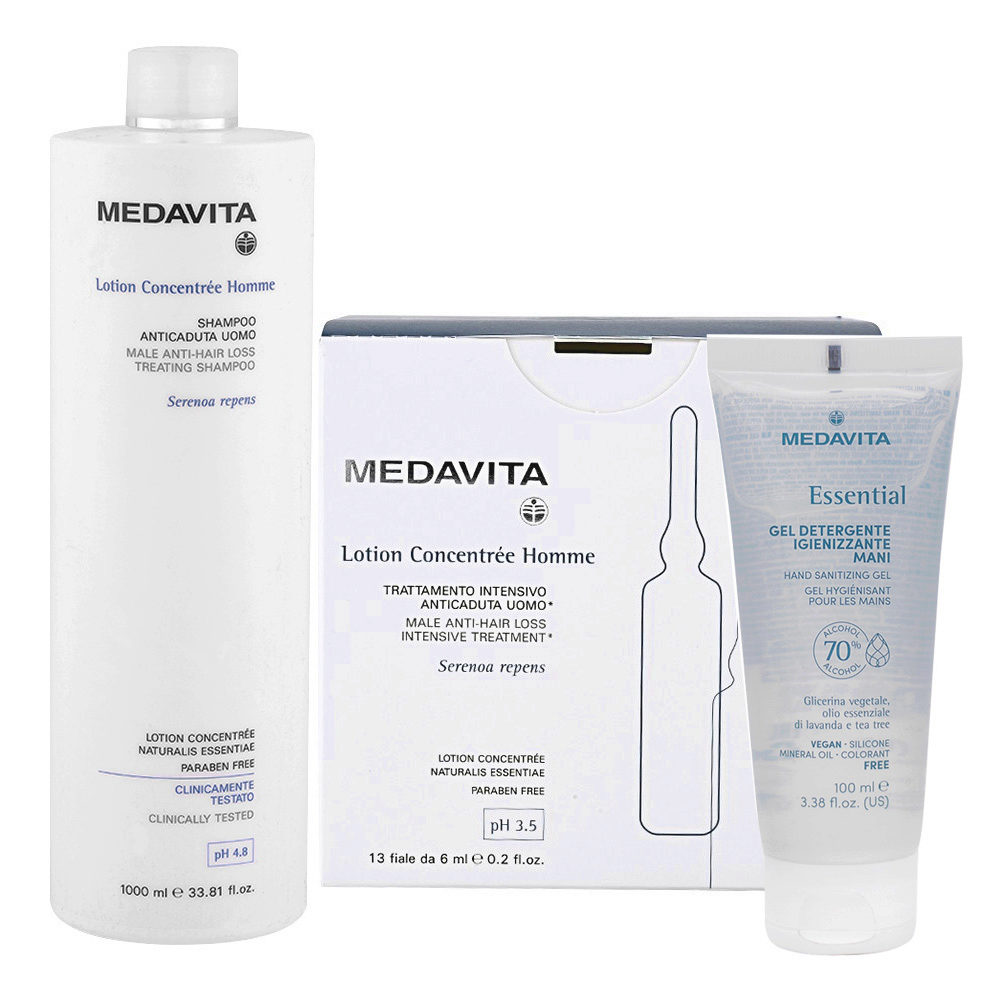 Medavita Lotion concentree Homme Shampoo anticaduta uomo 1000ml Fiale 13x6ml Gel Igienizzante Mani 100ml