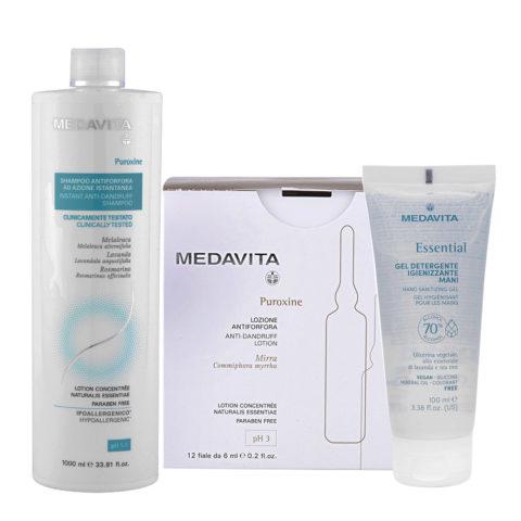 Medavita Puroxine Shampoo Antiforfora 1000ml e Fiale 12x6ml Gel Igienizzante Mani 100ml
