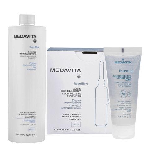 Medavita Requilibre Shampoo Sebo Equilibrante 1000ml e Fiale 12x6ml Gel Igienizzante Mani 100ml