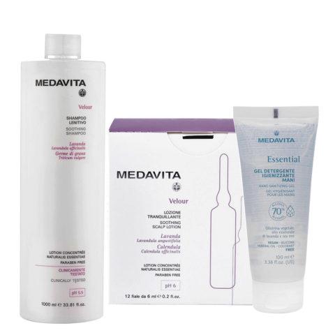 Medavita Velour Shampoo Lenitivo 1000ml e Fiale 12x6ml per Cute con Desquamazione Gel Igienizzante Mani 100ml