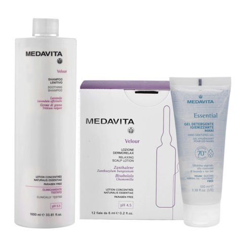 Medavita Velour Shampoo Lenitivo 1000ml e Fiale Cute Irritata 12x6ml Gel Igienizzante Mani 100ml