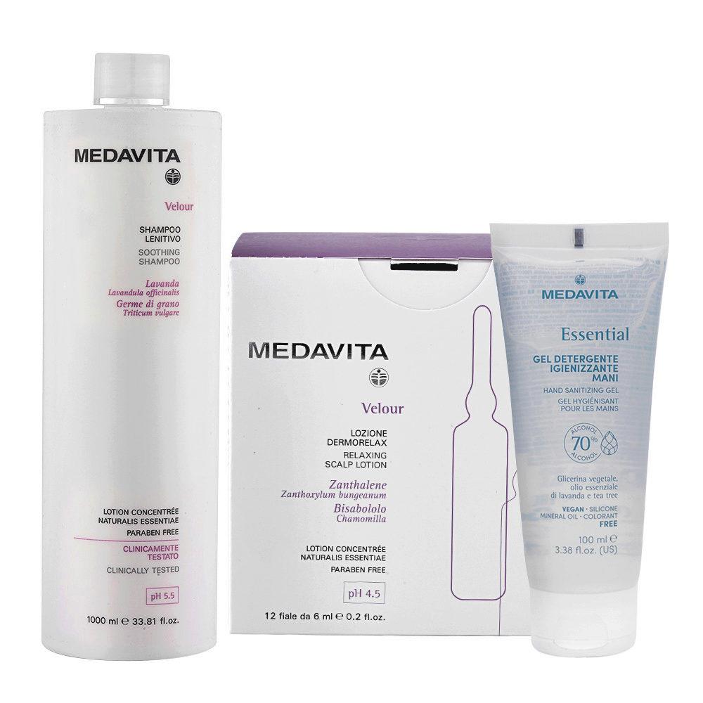 Medavita Velour Shampoo Lenitivo 1000ml e Fiale Cute Irritata 12x6ml Gel Igienizzante Mani 100ml