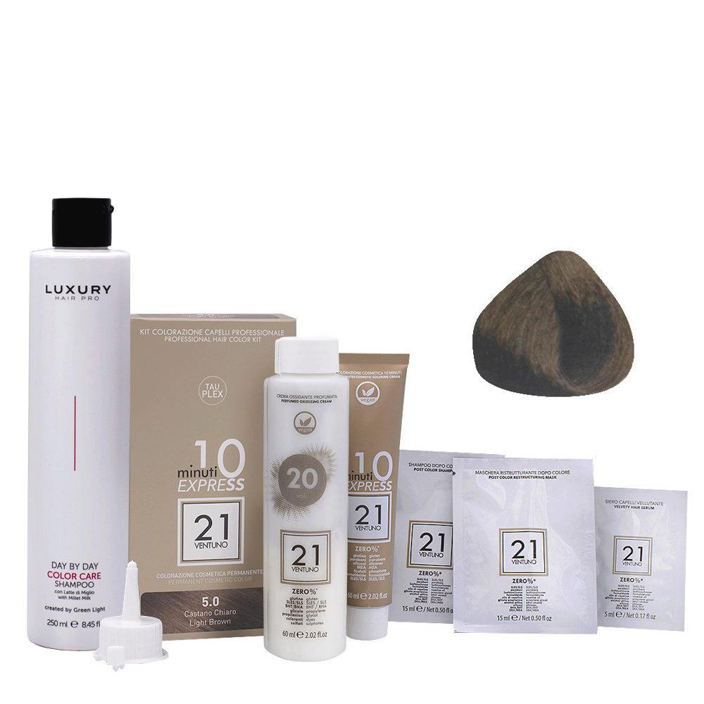 21 Ventuno Kit Colorazione 5.0 Castano Chiaro + Shampoo Omaggio 250ml