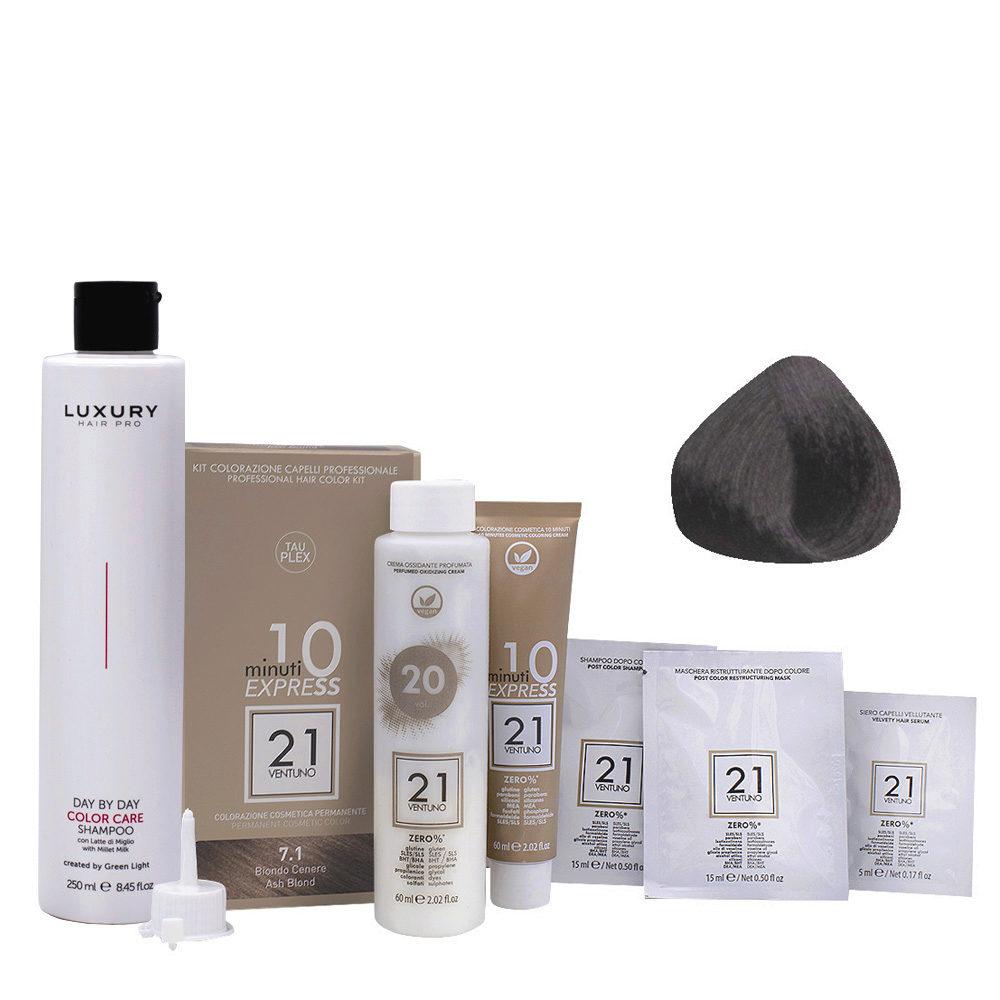 21 Ventuno Kit Colorazione 7.1 Biondo Cenere + Shampoo Omaggio 250ml