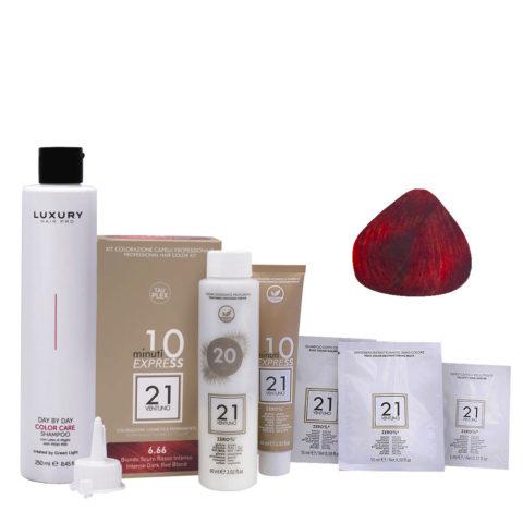21 Ventuno Kit Colorazione 6.66 Biondo Scuro Rosso Intenso + Shampoo Omaggio 250ml