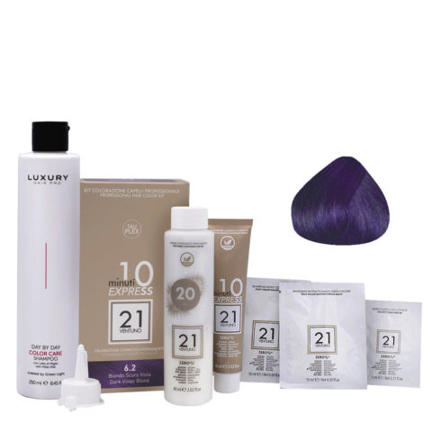 21 Ventuno Kit Colorazione 6.2 Biondo Scuro Viola + Shampoo Omaggio 250ml