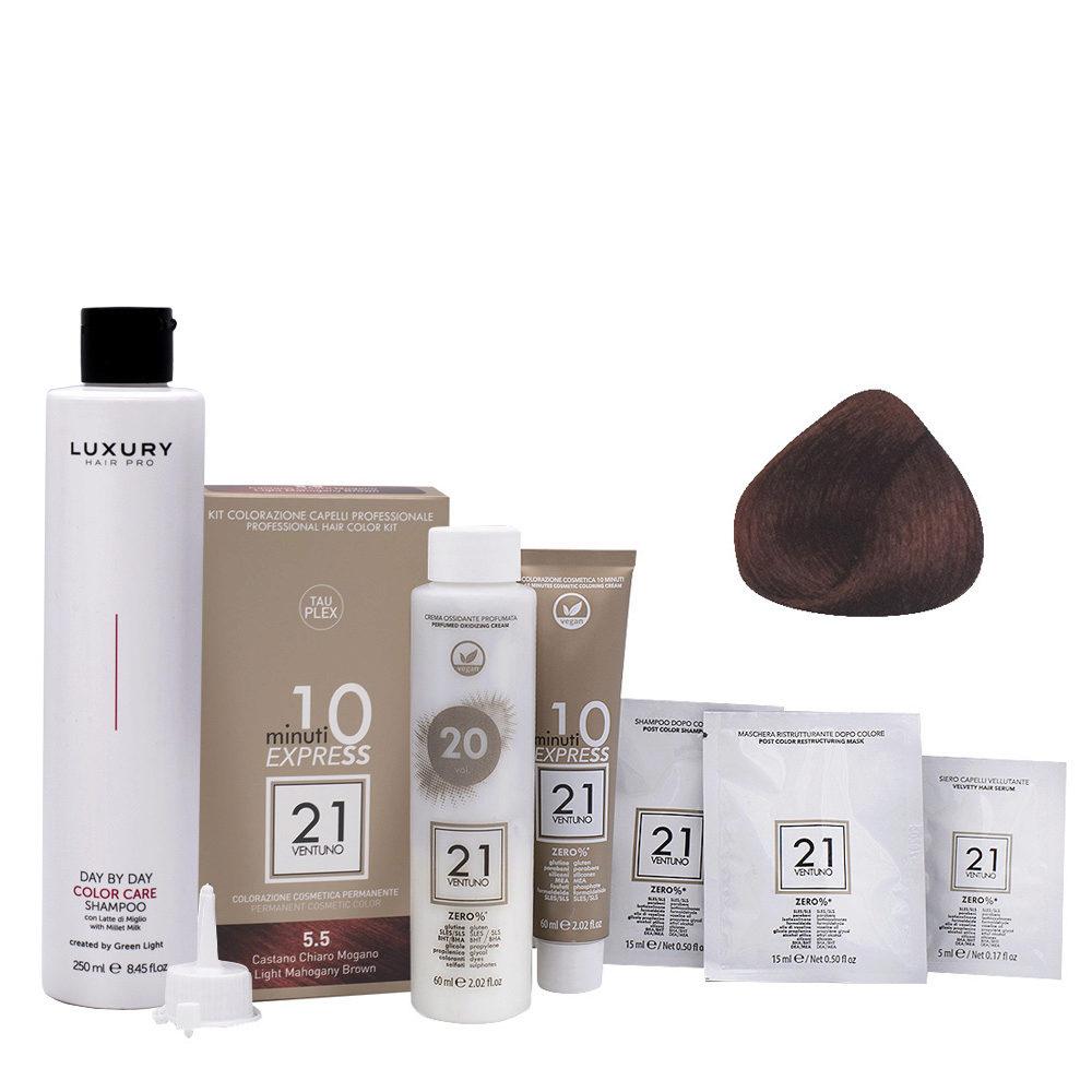 21 Ventuno Kit Colorazione 5.5 Castano Chiaro Mogano + Shampoo Omaggio 250ml