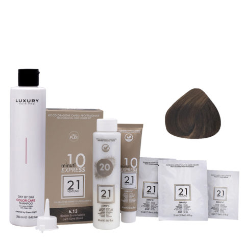 21 Ventuno Kit Colorazione 6.13 Biondo Scuro Sabbia + Shampoo Omaggio 250ml