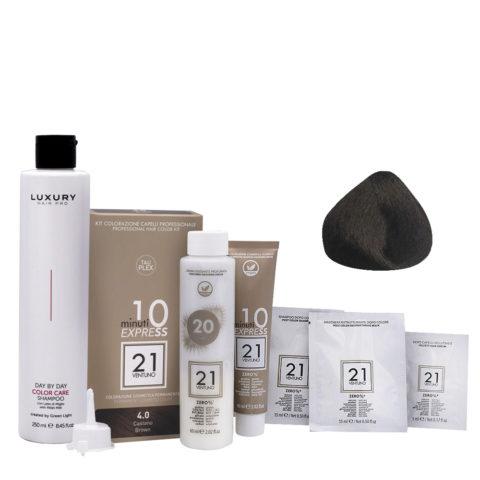 21 Ventuno Kit Colorazione 4.0 Castano + Shampoo Omaggio 250ml