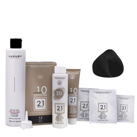 21 Ventuno Kit Colorazione professionale 1.0 Nero + Shampoo Omaggio 250ml