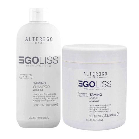 Alterego Egoliss Kit Anticrespo Lisciante Shampoo 1000ml e Maschera 1000ml