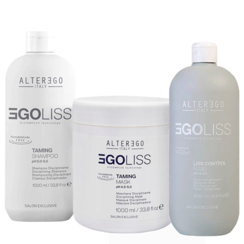 Alterego Egoliss Kit Anticrespo Shampoo 1000ml Maschera 1000ml Fluido 1000ml