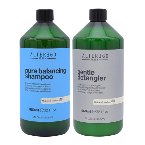 Alterego Kit per Cute Grassa Shampoo 950ml e Balsamo Districante 950ml