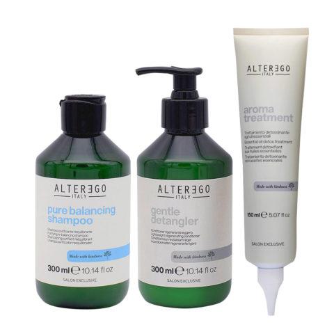 Alterego Kit Cute Grassa Shampoo 300ml Balsamo 300ml Gel Trattamento Cute 150ml