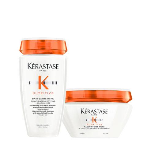 Kerastase Nutritive Kit Capelli Secchi Shampoo Satin 2 250ml e Maschera Capelli Grossi 200ml
