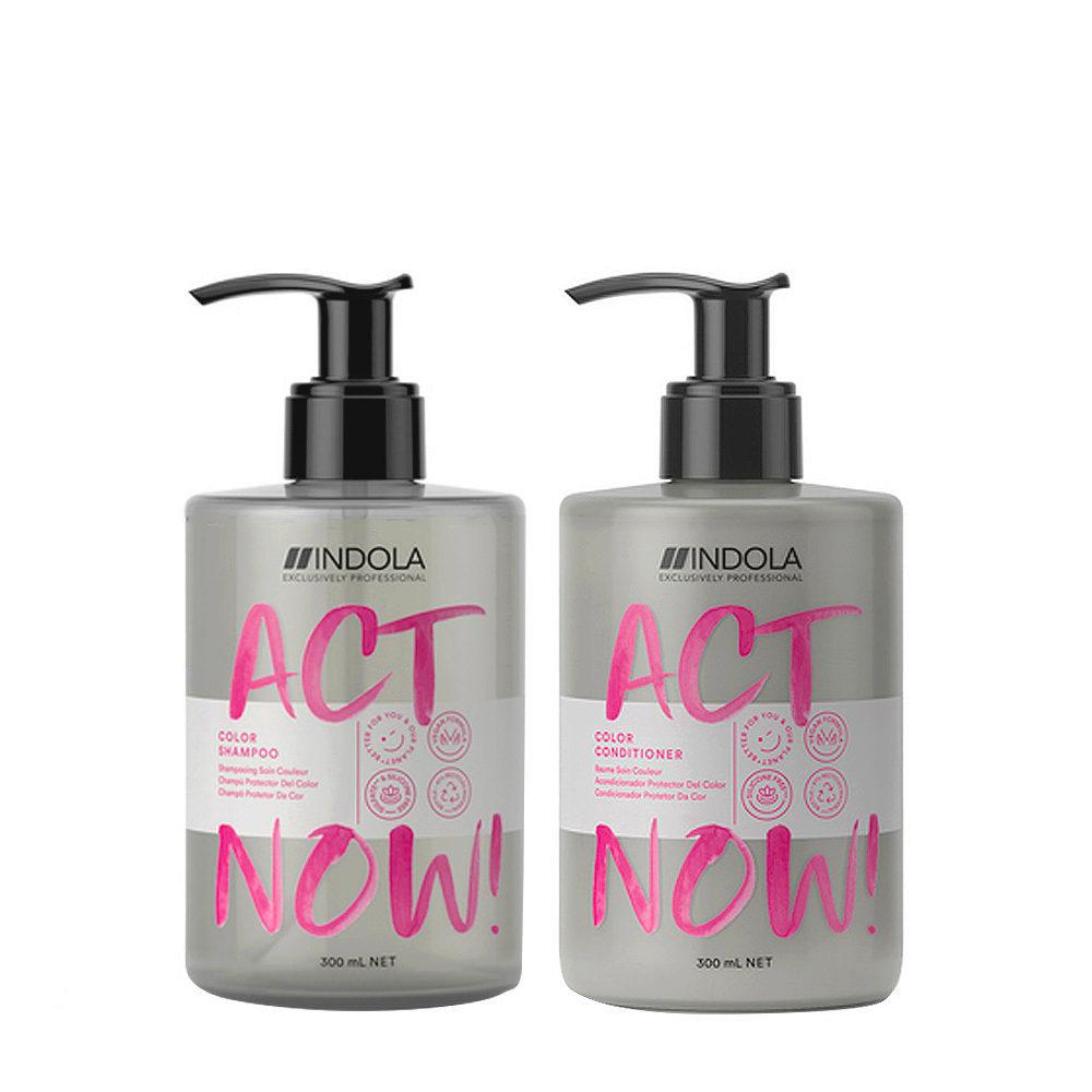 Indola Act Now Capelli Colorati Shampoo 300ml e Balsamo 300ml