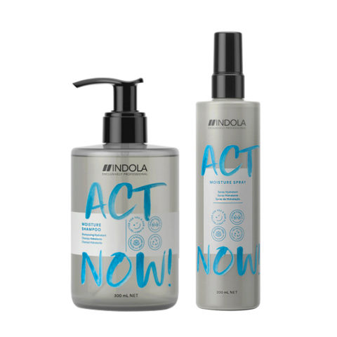 Indola Act Now Idratante per Capelli Secchi Shampoo 300ml e Spray Idratante 200ml
