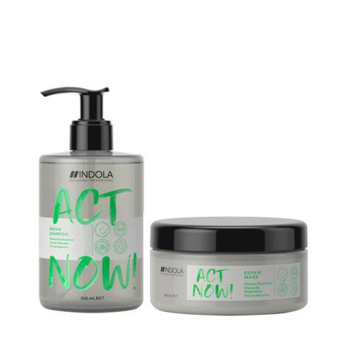 Indola Act Now Capelli Rovinati Shampoo 300ml e Maschera Ristrutturante 200ml