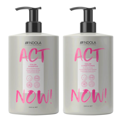 Indola Act Now Capelli Colorati Shampoo 1000ml e Balsamo 1000ml