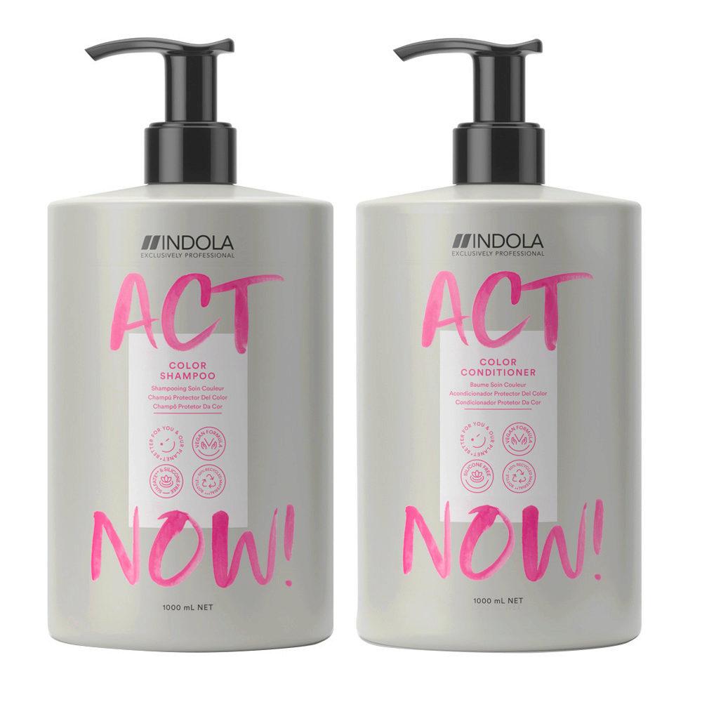 Indola Act Now Capelli Colorati Shampoo 1000ml e Balsamo 1000ml
