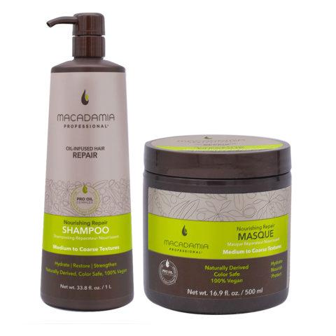 Macadamia Set Capelli Rovinati Shampoo 1000ml e Maschera 500ml