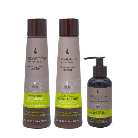 Macadamia Set Capelli Rovinati e Grossi Shampoo 300ml Balsamo 300ml Olio 125ml