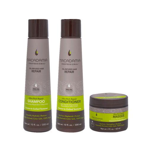 Macadamia Set Capelli Rovinati Grossi Shampoo 300ml Balsamo 300ml Maschera 60ml