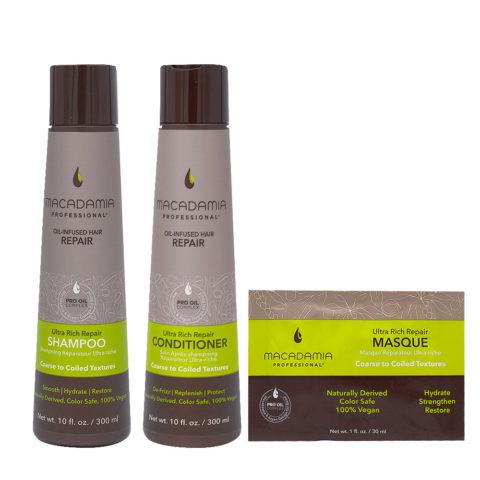Macadamia Capelli Rovinati e Grossi Shampoo 1000ml Balsamo 1000ml Maschera 30ml