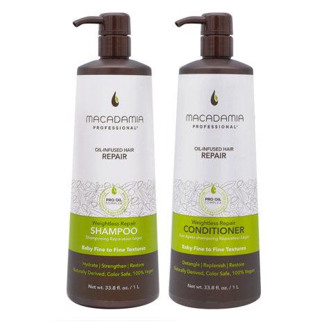 Macadamia Set Capelli Rovinati e Fini Shampoo 1000ml e Balsamo 1000ml