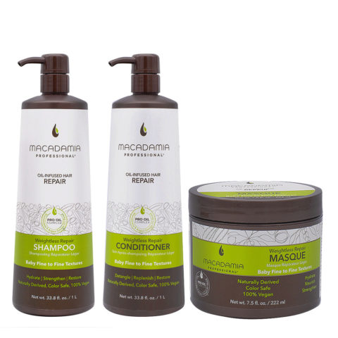 Macadamia Set Capelli Rovinati Fini Shampoo 1000ml Balsamo 1000ml Maschera 222ml