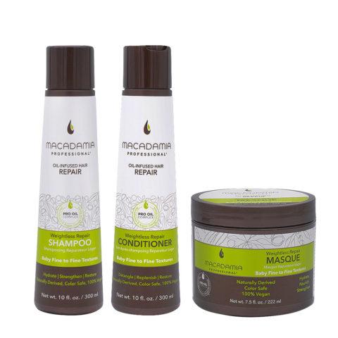 Macadamia Set Capelli Rovinati e Fini Shampoo 300ml Balsamo 300ml Maschera 222ml