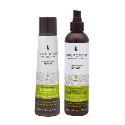 Macadamia Set Capelli Rovinati Fini Shampoo 300ml Balsamo senza risciacquo 236ml