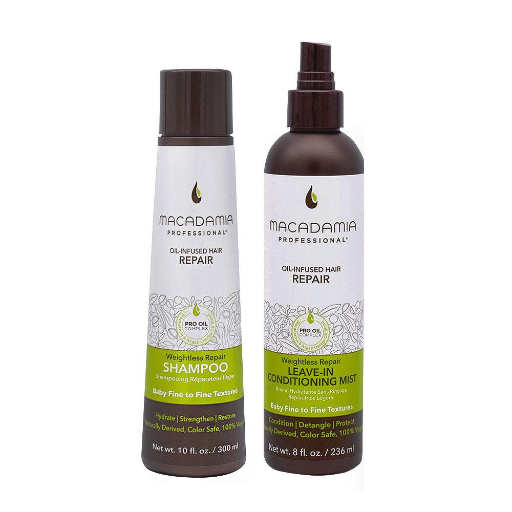 Macadamia Set Capelli Rovinati e Fini Shampoo 300ml e Balsamo senza risciacquo 236ml